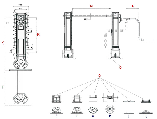 Container Chassis Landing Gear : Landing gears king pin container twist locks