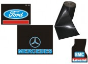 Mudflaps with company logo